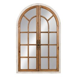 Kate and Laurel Boldmere 28x44 Wood Windowpane Arch Mirror, Brown and White   Walmart (US)