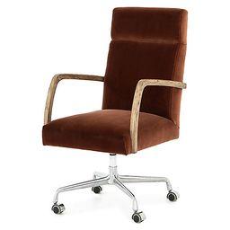 Cullen Desk Chair, Burnt Auburn Velvet | One Kings Lane