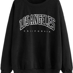 MAKEMECHIC Women's Graphic Letter Print Round Neck Long Sleeve Sweatshirt Pullover Tops | Amazon (US)
