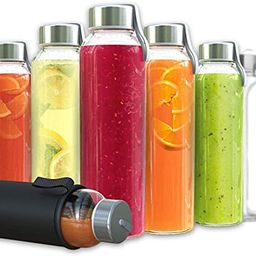 Chef's Star Glass Water Bottles - 12 Pack of Glass Bottles with Caps - 18 oz Juice Bottles- Prote... | Amazon (US)