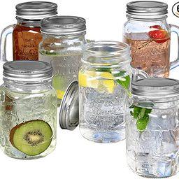 Estilo Mason Jar Mugs with Handles Old Fashioned Drinking Glass Set 6, 16 oz Each | Amazon (US)