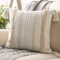 "Phantoscope Boho Woven Tufted with Tassel Series Decorative Throw Pillow, 18"" x 18"", Cream White ... | Walmart (US)"