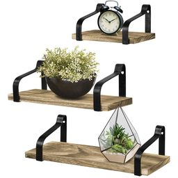 Greenco Set of 3 Rustic Wall Mounted Floating Shelves For Living Room, Dining Room, Office, Bedro... | Walmart (US)