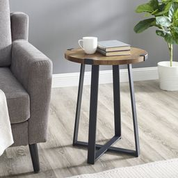 Woven Paths Rustic Wood and Metal Round End Table, Reclaimed Barnwood | Walmart (US)