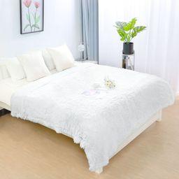Reversible Lightweight Soft Long Shaggy Faux Fur White Blanket Queen Size | Walmart (US)
