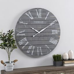 FirsTime & Co.® Gray Aranza Shiplap Farmhouse Clock, American Crafted, Gray, Wood, 29 x 2.25 x 2... | Overstock
