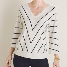 Chevron-Striped Double V-Neck Sweater | Chico's