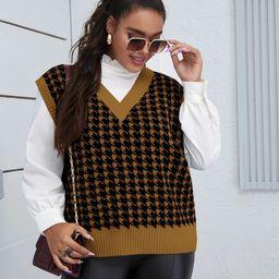 Plus Houndstooth V-neck Rib Sweater Vest   SHEIN