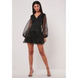 Black Organza Polka Dot Mini Dress   Missguided (US & CA)