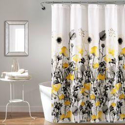 Zuri Flora Shower Curtain Yellow/Gray - Lush Décor   Target