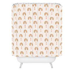 Little Arrow Design Co Aria Geometric Rainbows Shower Curtain Orange - Deny Designs   Target