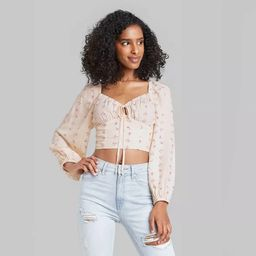 Women's Puff Long Sleeve Sweetheart Milkmaid Cropped Top - Wild Fable™ | Target