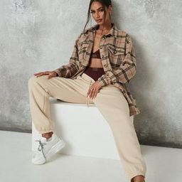 Brown Extreme Oversized Check Print Shacket | Missguided (US & CA)