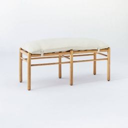 Emery Wood and Upholstered Bench with Straps Natural - Threshold™ designed with Studio McGee | Target