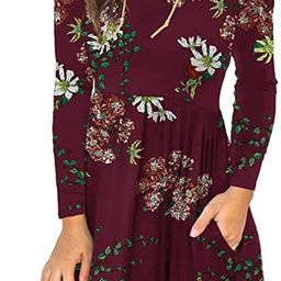 Unbranded* Women's Long Sleeve Loose Plain Dresses Casual Short Dress with Pockets | Amazon (US)