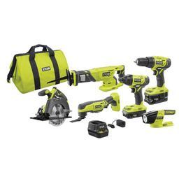 RYOBI 18-Volt ONE+ Lithium-Ion Cordless 6-Tool Combo Kit with (2) Batteries, Charger, and Bag-P18... | The Home Depot