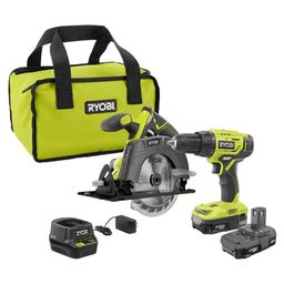 RYOBI 18-Volt ONE+ Lithium-Ion Cordless 2-Tool Combo Kit w/ Drill/Driver, Circular Saw, (2) 1.5 A... | The Home Depot