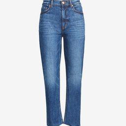 High Rise Fresh Cut Straight Crop Jeans in Authentic Dark Indigo Wash   LOFT