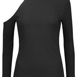 W118 By Walter Baker Woman Chrissy One-shoulder Striped Ribbed-knit Turtleneck Sweater Black Size L   The Outnet US