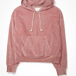 AE Fleece Velour Ribbed Hoodie | American Eagle Outfitters (US & CA)