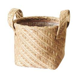 Household DIY Handmade Woven Flower Pot Jute Cloth Simple Desktop Storage Basket Portable   Walmart (US)