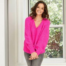 Women's Balloon Sleeve V-Neck Pullover Sweater - Universal Thread™   Target