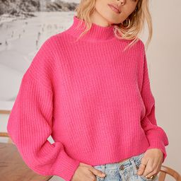 Bright and Cheery Hot Pink Knit Mock Neck Balloon Sleeve Sweater   Lulus (US)