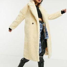 Topshop teddy maxi coat in cream | ASOS (Global)