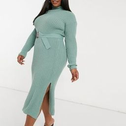 In The Style Plus x Billie Faiers roll neck knitted dress with belt in sage | ASOS (Global)