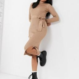 New Look tie waist knitted dress in camel | ASOS (Global)