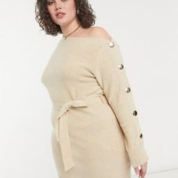 Outrageous Fortune Plus knitted slash neck button sleeve pencil dress with belt in cream | ASOS (Global)