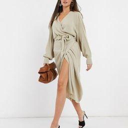 Pretty Lavish wrap knit dress with tie waist in beige | ASOS (Global)