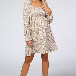 Ivory Floral Smocked Long Sleeve Maternity Dress | PinkBlush Maternity