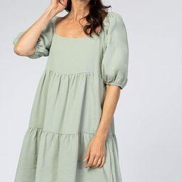 Mint Puff Sleeve Tiered Dress | PinkBlush Maternity