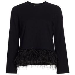 Cinq à Sept Women's Aziza Feather Top - Black - Size Large   Saks Fifth Avenue