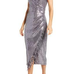 Women's Saylor Azariah Sequin Fringe Faux Wrap Dress, Size Large - Grey | Nordstrom