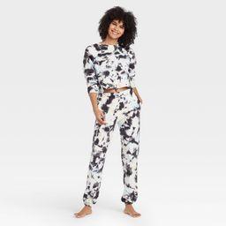 Women's Tie-Dye Fleece Lounge Jogger Pants - Colsie™ Black | Target