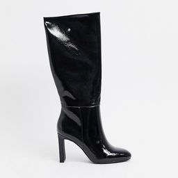 ASOS DESIGN Current pull on knee boots in black patent   ASOS (Global)