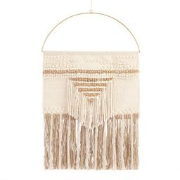 White and Gold Woven Wall Hanging | World Market