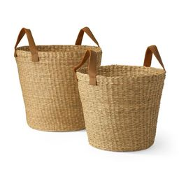 MoDRN Naturals Floppy Seagrass Basket with Leather Handles, Round Tapered, Set of 2   Walmart (US)