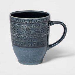16oz Ceramic Kingfield Debossed Mug Blue - Threshold™ | Target