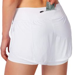 Women's 2 in 1 Running Shorts Workout Athletic Gym Yoga Shorts for Women with Phone Pockets | Amazon (US)