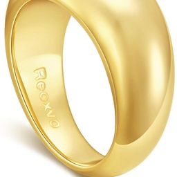 Reoxvo 18K Gold Plated Rings for Women | Thick Chunky Dome Rings (5-10 Size) | Amazon (US)