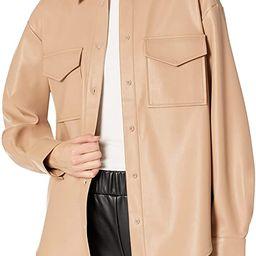 The Drop Women's @lisadnyc Faux Leather Long Shirt Jacket | Amazon (US)