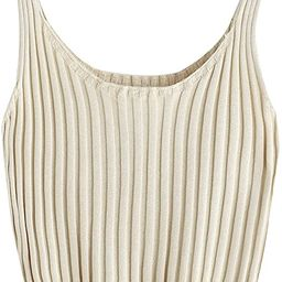SweatyRocks Women's Ribbed Knit Crop Tank Top Spaghetti Strap Camisole Vest Tops | Amazon (US)