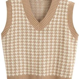 Women Houndstooth Pattern Knit Sweater Vest Sleeveless Loose V-Neck 90s Waistcoat Pullover Knitwe... | Amazon (US)