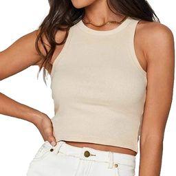 Meladyan Women's Round Neck Basic Racerback Camisole Rib-Knit Solid Sleeveless Crop Tank Tops | Amazon (US)