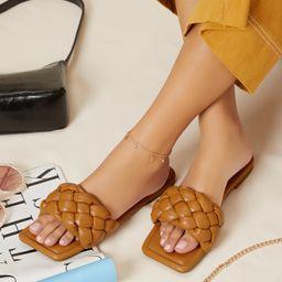 Braided Vamp Square Toe Slipper Sandals | SHEIN