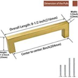 goldenwarm Brass Cabinet Pulls Brushed Gold Cabinet Hardware - LSJ12GD204 Kitchen Drawer Pulls Ha... | Amazon (US)