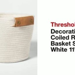 """11"""" Decorative Coiled Rope Square Base Tapered Basket Cream - Threshold™   Target"""